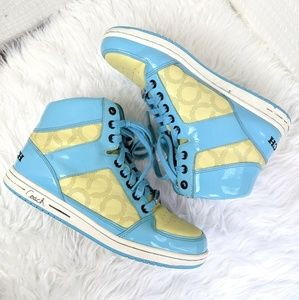 Coach | Blue Yellow Norra High Top Sneakers Size 9